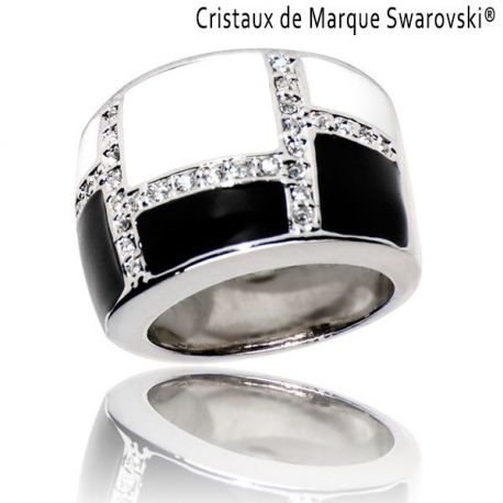 Bague La Black and White Cristaux Swarovski